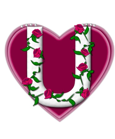 The letter U, in the alphabet set Rosey Vine, is a white letter with climbing roses twining around its shape.  It sets on two large hearts topped with pearls. photo