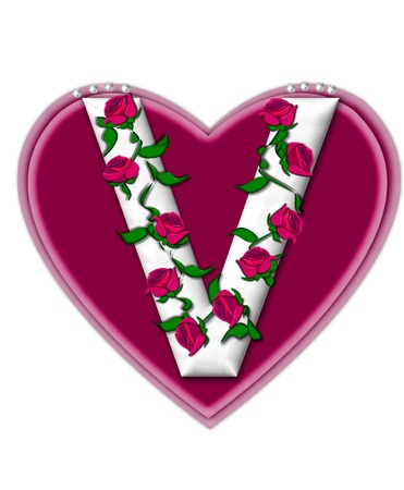 twining: The letter V, in the alphabet set Rosey Vine, is a white letter with climbing roses twining around its shape.  It sets on two large hearts topped with pearls.