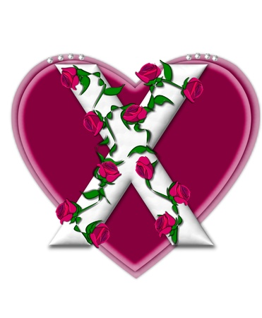 twining: The letter X, in the alphabet set Rosey Vine, is a white letter with climbing roses twining around its shape.  It sets on two large hearts topped with pearls.