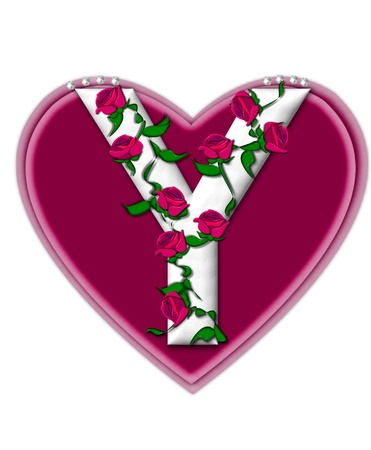 The letter Y, in the alphabet set Rosey Vine, is a white letter with climbing roses twining around its shape.  It sets on two large hearts topped with pearls. photo