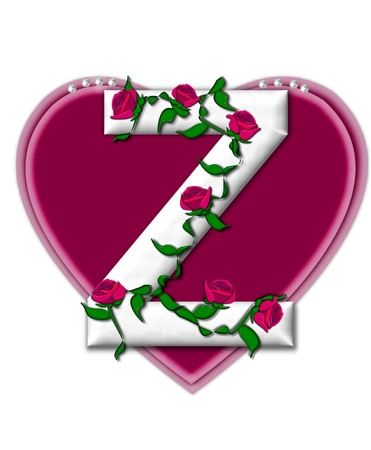 twining: The letter Z, in the alphabet set Rosey Vine, is a white letter with climbing roses twining around its shape.  It sets on two large hearts topped with pearls.