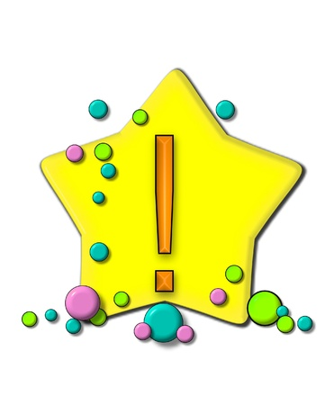 exclamation point: Exclamation point, in the alphabet set Stars and Planets, sits on a large yellow star surrounded by colorful, pastel planets.  Letter is outlined in black.