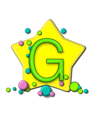 g spot: G, in the alphabet set Stars and Planets, sits on a large yellow star surrounded by colorful, pastel planets.  Letter is outlined in black. Stock Photo