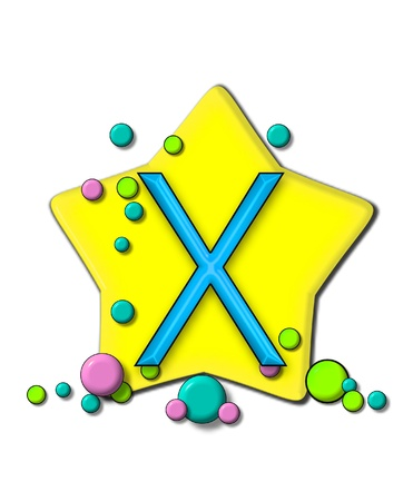 X, in the alphabet set Stars and Planets, sits on a large yellow star surrounded by colorful, pastel planets.  Letter is outlined in black. photo