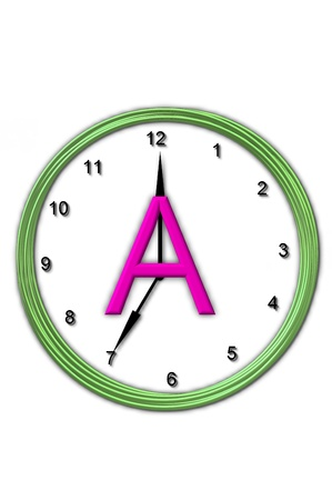 timeless: The letter A, in the alphabet set Timeless, is sitting in the middle of a wall clock.  Frame for clock is green and letter is hot pink.