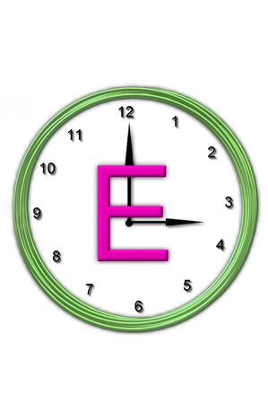 timeless: The letter E, in the alphabet set Timeless, is sitting in the middle of a wall clock.  Frame for clock is green and letter is hot pink. Stock Photo