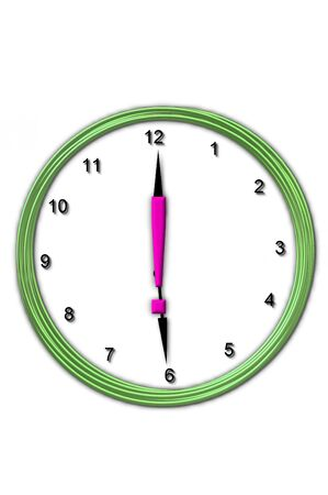 timeless: Exclamation Point , in the alphabet set Timeless, is sitting in the middle of a wall clock.  Frame for clock is green and letter is hot pink.