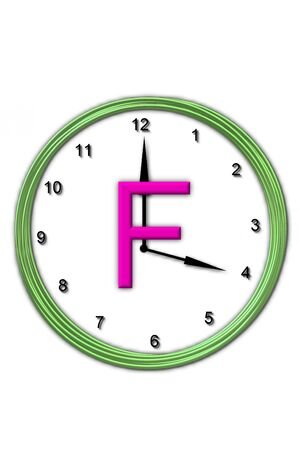 The letter F, in the alphabet set Timeless, is sitting in the middle of a wall clock.  Frame for clock is green and letter is hot pink.