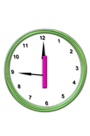 timeless: The letter I, in the alphabet set Timeless, is sitting in the middle of a wall clock   Frame for clock is green and letter is hot pink