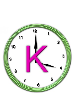 timeless: The letter K, in the alphabet set Timeless, is sitting in the middle of a wall clock   Frame for clock is green and letter is hot pink