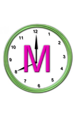 timeless: The letter M, in the alphabet set Timeless, is sitting in the middle of a wall clock   Frame for clock is green and letter is hot pink