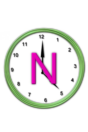 wasted: The letter N, in the alphabet set Timeless, is sitting in the middle of a wall clock   Frame for clock is green and letter is hot pink  Stock Photo