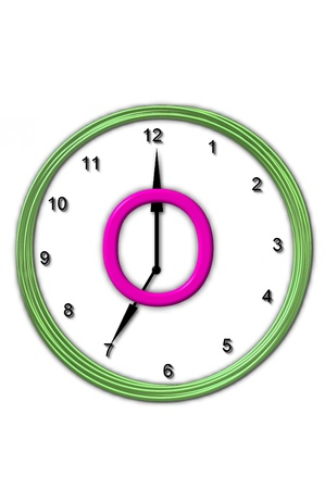 timeless: The letter O, in the alphabet set Timeless, is sitting in the middle of a wall clock   Frame for clock is green and letter is hot pink