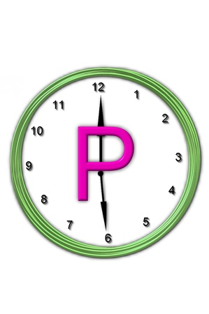 timeless: The letter P, in the alphabet set Timeless, is sitting in the middle of a wall clock   Frame for clock is green and letter is hot pink  Stock Photo