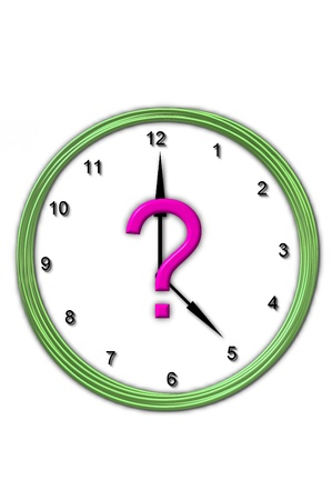 timeless: Question mark , in the alphabet set Timeless, is sitting in the middle of a wall clock   Frame for clock is green and letter is hot pink