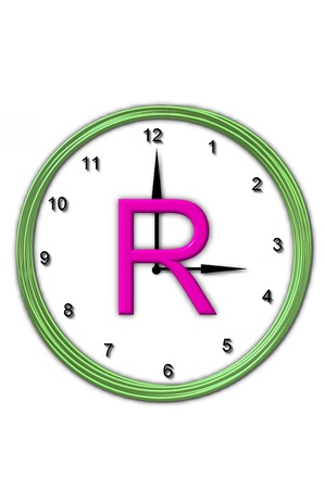 wasted: The letter R, in the alphabet set Timeless, is sitting in the middle of a wall clock   Frame for clock is green and letter is hot pink