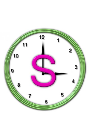 timeless: The letter S, in the alphabet set Timeless, is sitting in the middle of a wall clock   Frame for clock is green and letter is hot pink