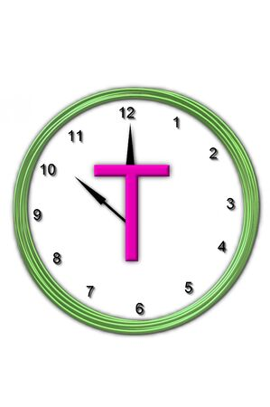 timeless: The letter T, in the alphabet set Timeless, is sitting in the middle of a wall clock   Frame for clock is green and letter is hot pink  Stock Photo
