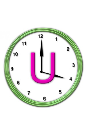 big timer: The letter U, in the alphabet set Timeless, is sitting in the middle of a wall clock   Frame for clock is green and letter is hot pink  Stock Photo