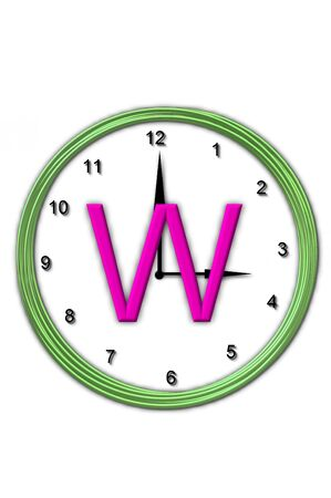 big timer: The letter W, in the alphabet set Timeless, is sitting in the middle of a wall clock   Frame for clock is green and letter is hot pink