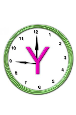 timeless: The letter Y, in the alphabet set Timeless, is sitting in the middle of a wall clock   Frame for clock is green and letter is hot pink