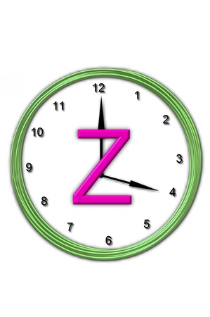 big timer: The letter Z, in the alphabet set Timeless, is sitting in the middle of a wall clock   Frame for clock is green and letter is hot pink  Stock Photo