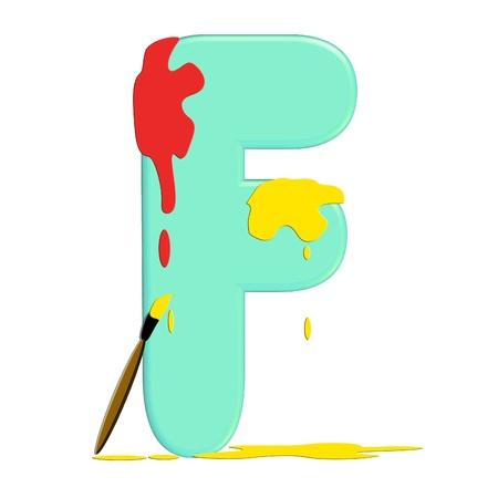 quot: F in alphabet set &quot,Alpha Paint Blobs&quot, Stock Photo