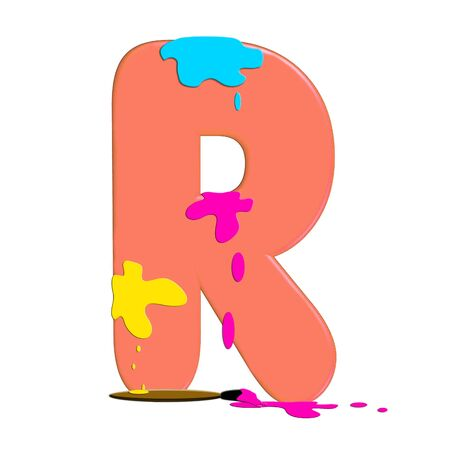 muted: R in alphabet set &quot,Alpha Paint Blobs&quot,  Stock Photo
