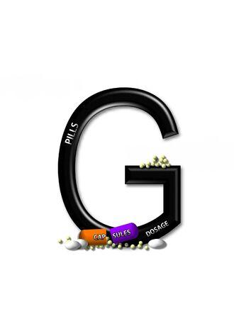 open type font: G, in the alphabet set &quot,Healing&quot,  Stock Photo