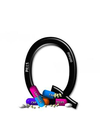 quot: Q, in the alphabet set &quot,Healing&quot,  Stock Photo