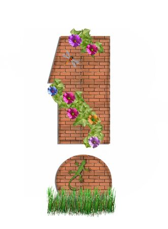 exclamation point: Exclamation Point, in the alphabet set &quot,Garden Brick Wall&quot,
