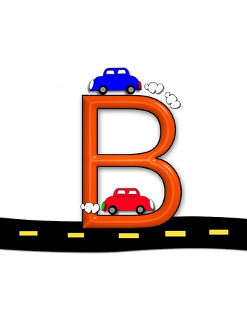 isolation: B, in the alphabet set &quot,Highway&quot,  Stock Photo