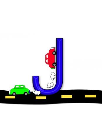 quot: J, in the alphabet set &quot,Highway&quot, Stock Photo