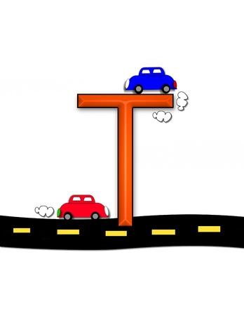 quot: T, in the alphabet set &quot,Highway&quot,  Stock Photo