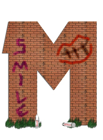 defaced: M, in the alphabet set &quot,Street Alley&quot,  Stock Photo