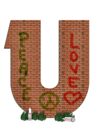 sprayed: U, in the alphabet set &quot,Street Alley&quot,