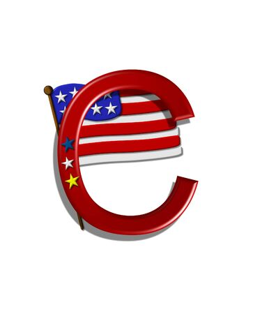 independance: The letter C, in the alphabet set Stars and Stripes, is red with three stars decorating it.  A Flag sits behind letter on a white background.