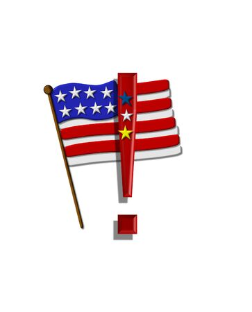 independance: Exclamation point , in the alphabet set Stars and Stripes, is red with three stars decorating it.  A Flag sits behind symbol on a white background.