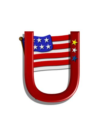 independance: The letter U, in the alphabet set Stars and Stripes, is red with three stars decorating it.  A Flag sits behind letter on a white background.