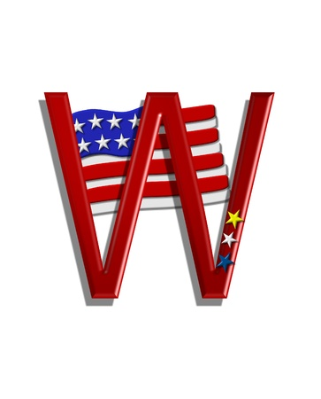 independance: The letter W, in the alphabet set Stars and Stripes, is red with three stars decorating it.  A Flag sits behind letter on a white background.