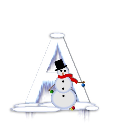 typographiy: The letter A, in the alphabet set Frosty, is a white icy letter covered in snow drifts.  A snowman decorates letter and is holding colorful Christmas ornaments.