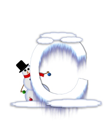 typographiy: The letter C, in the alphabet set Frosty, is a white icy letter covered in snow drifts.  A snowman decorates letter and is holding colorful Christmas ornaments.