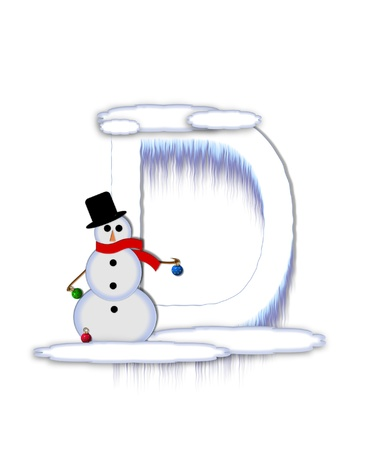 typographiy: The letter D, in the alphabet set Frosty, is a white icy letter covered in snow drifts.  A snowman decorates letter and is holding colorful Christmas ornaments. Stock Photo