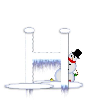 drifts: The letter H, in the alphabet set Frosty, is a white icy letter covered in snow drifts.  A snowman decorates letter and is holding colorful Christmas ornaments.
