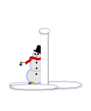 typographiy: The letter I, in the alphabet set Frosty, is a white icy letter covered in snow drifts.  A snowman decorates letter and is holding colorful Christmas ornaments. Stock Photo