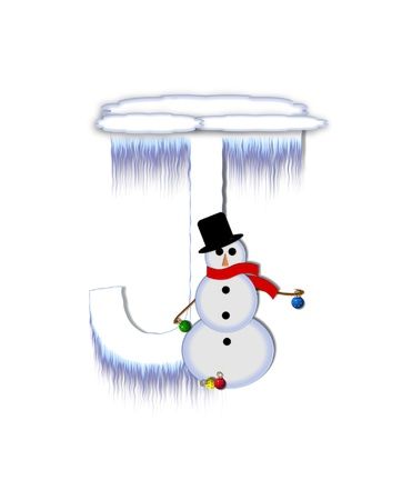 typographiy: The letter J, in the alphabet set Frosty, is a white icy letter covered in snow drifts.  A snowman decorates letter and is holding colorful Christmas ornaments. Stock Photo