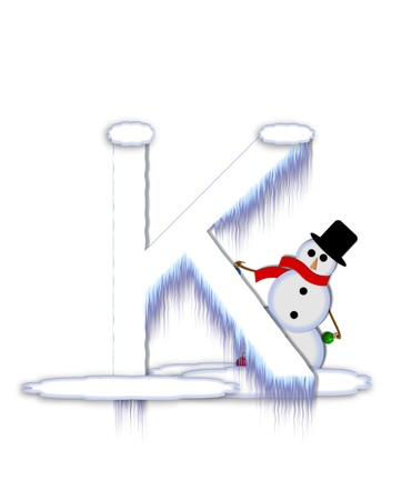 typographiy: The letter K, in the alphabet set Frosty, is a white icy letter covered in snow drifts.  A snowman decorates letter and is holding colorful Christmas ornaments.