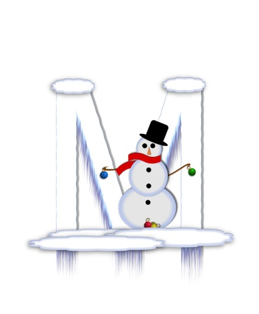 The letter M, in the alphabet set Frosty, is a white icy letter covered in snow drifts.  A snowman decorates letter and is holding colorful Christmas ornaments.