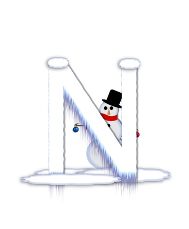 drifts: The letter N, in the alphabet set Frosty, is a white icy letter covered in snow drifts.  A snowman decorates letter and is holding colorful Christmas ornaments.