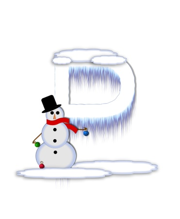 drifts: The letter P, in the alphabet set Frosty, is a white icy letter covered in snow drifts.  A snowman decorates letter and is holding colorful Christmas ornaments. Stock Photo